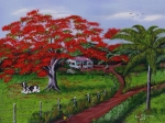 Puerto Rico Paintings - Poinciana Blvd by Luis F Rodriguez