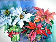 Poinsettias Paintings - Poinsettia Gifts by Judy Fischer Walton