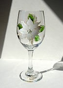 Hand Painted Glasses Glass Art - Poinsettia by Pauline Ross