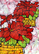 Textile Tapestries - Textiles Originals - Poinsettias Batik by Kristine Allphin