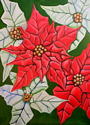 Poinsettias Paintings - Poinsettias by Don Martinelli