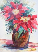 Poinsettias Paintings - Poinsettias in a Brown Vase by Avonelle Kelsey