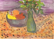 Poinsettias Paintings - Poinsettias in a vase and Table Fruit by Thelma Harcum