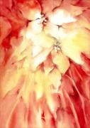 Christmas Flower Paintings - Poinsettias by Joan  Jones