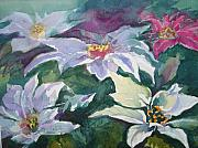 Poinsettias Paintings - Poinsettias by Judy Fischer Walton