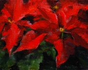 Holiday Drawings Framed Prints - Poinsettias Framed Print by MaryAnn Cleary