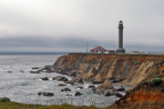 Seascapes Posters - Point Arena Lighthouse CA Poster by Christine Till