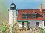 Lake Michigan Painting Originals - Point Betsie Lighthouse by LeAnne Sowa