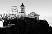 Bonita Point Acrylic Prints - Point Bonita Lighthouse in the Marin Headlands . Black and White Acrylic Print by Wingsdomain Art and Photography