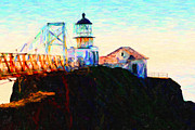 Lighthouses Digital Art Prints - Point Bonita Lighthouse in The Marin Headlands in California Print by Wingsdomain Art and Photography