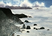 Crashing Surf Paintings - Point Bonita Lighthouse by Penny Stroening