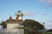 Glass Prints - Point Fermin Light - an elegant Victorian Style Lighthouse in CA Print by Christine Till