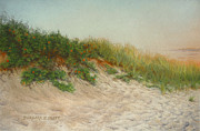 Landscape Prints Pastels Framed Prints - Point Judith Dunes Framed Print by Barbara Groff
