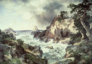 Rocky Shoreline Paintings - Point Lobos at Monterey in California by Thomas Moran
