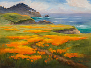 California Poppy Paintings - Point Lobos Poppies by Karin  Leonard