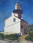 Egg Tempera Paintings - Point Loma Lighthouse by D T LaVercombe