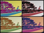 Point Loma Digital Art Prints - Point Loma Lighthouse Warhol Print by RJ Aguilar