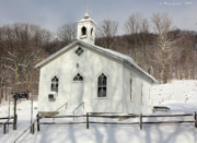Virginia Cemetary Photo Posters - Point Mountain Church in the Winter Poster by Carolyn Postelwait