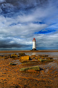 White Digital Art Posters - Point Of Ayr Beach Poster by Adrian Evans