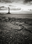 Black And White Photography Metal Prints - Point Of Ayre Lighthouse Metal Print by Jon Baxter