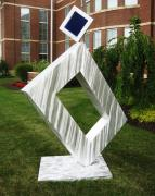 Aluminum Outdoor Sculpture Sculptures - Point Of Impact by Dawn  Johnson and Jerry Schmidt
