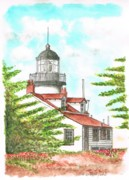Lighthouses Paintings - Point-Pinos-Lighthouse-CA by Carlos G Groppa