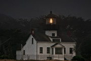 Night Lamp Prints - Point Pinos Lighthouse CA Print by Christine Till