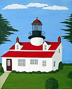 Lighthouse Art Paintings - Point Pinos Lighthouse by Frederic Kohli