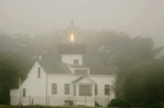 Gray Art - Point Pinos Lighthouse in a foggy night - Pacific Grove Monterey Central CA by Christine Till