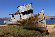 Abandoned Boats Prints - Point Reyes beached boat Print by Garry Gay