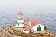 Fog Mist Posters - Point Reyes Lighthouse at Point Reyes National Seashore CA Poster by Christine Till