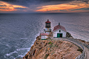 Point Reyes Framed Prints - Point Reyes Lighthouse at Sunset Framed Print by Eddie Yerkish