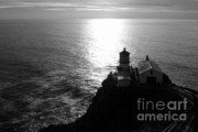 Lighthouse Sunset Framed Prints - Point Reyes Lighthouse - Black and White Framed Print by Carol Groenen
