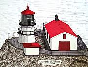 Lighthouse Drawings - Point Reyes Lighthouse by Frederic Kohli