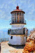 Lighthouses Digital Art Prints - Point Reyes Lighthouse in California . 7D16008 Print by Wingsdomain Art and Photography