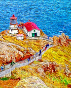 Lighthouse Digital Art - Point Reyes Lighthouse by Wingsdomain Art and Photography