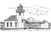 Historical Buildings Drawings Prints - Point Robinson Lighthouse Print by Lawrence Tripoli