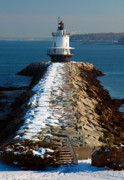 Portland Lighthouse Photos - Point Spring Ledge Light - lighthouse seascape landscape rocky coast Maine by Jon Holiday