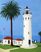 Historic Buildings Paintings - Point Vicente Lighthouse by Frederic Kohli