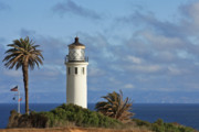 United States Lighthouses Posters - Point Vicente Lighthouse on the cliffs of Palos Verdes California Poster by Christine Till