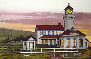 Puget Sound Framed Prints Prints - Point Wilson Light After Rain Print by James Lyman