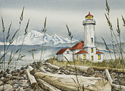 Lighthouse And Mt Baker Fine Art Print Metal Prints - Point Wilson Lighthouse Metal Print by James Williamson