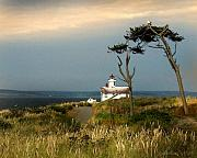 Lighthouse Digital Art Originals - Point Wilson Lighthouse Puget Sound watercolor by Joseph G Holland