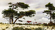 Lighthouse Art Paintings - Point Wilson Lighthouse Shore by James Williamson