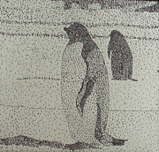 Arctic Drawings Prints - Pointillism Penguins Print by Linda Collado