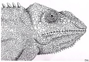 Pointillist Prints - Pointillist Chameleon  Print by Ben Leary
