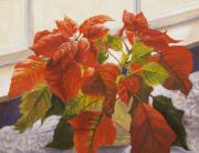 Poinsettias Paintings - Pointsettias In Light II by Jane Weis