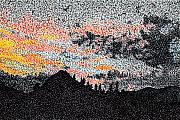 Stippling Framed Prints - Pointy Sunset Framed Print by Nils Beasley