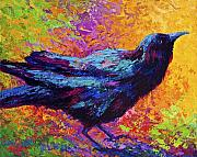 Ravens Metal Prints - Poised - Crow Metal Print by Marion Rose