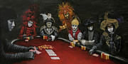 Game Painting Framed Prints - Poker Faces Framed Print by Jason Marsh